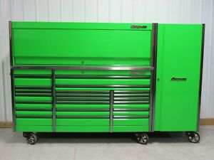 Snap On Extreme Green 84 Epiq Tool Box Stainless Top Hutch Side Locker