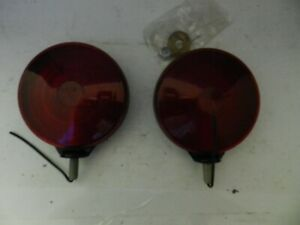 Pair Kd 761 Vintage Turn Lamp Tail Light Old Truck Bus Amber Red Ls311 Lens Nos