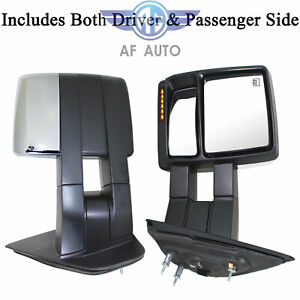 Pair Chrome Towing Power Heated Mirrors Signal Puddle Light For 07 14 Ford F150