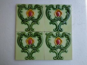 Old Vintage Art Collectible Rare Design Ceramic Tiles Made In England 6x6 Inch