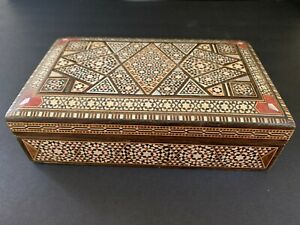 Vintage Antique Syrian Inlay Wooden Marquetry Box
