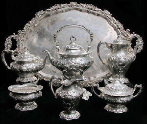 Gorham Chantilly Grand Sterling Silver 6 Piece On Sp Tray Tea Coffee Set A597