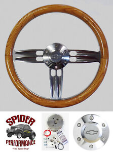 70 73 Suburban Blazer Chevy Pickup Steering Wheel Bowtie 14 Double Barrel Oak