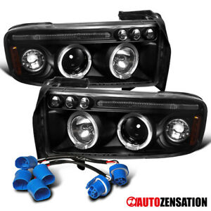 For 1994 2001 Dodge Ram 1500 2500 Sport Black Clear Led Halo Projector Headlight