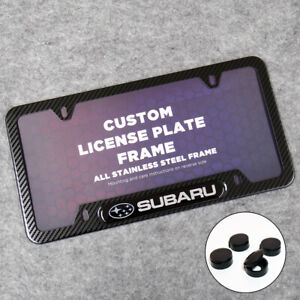 Subaru Sport Front Or Rear Carbon Fiber Texture Style License Plate Frame Cover