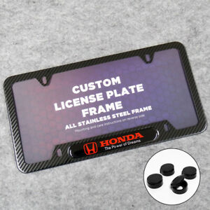 For Honda Sport Front Or Rear Carbon Fiber Texture License Plate Frame Cover