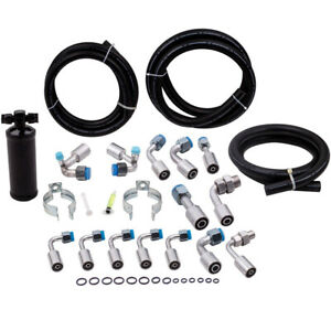 Universal 134a Air Conditioning Ac Hose Kit Fittings Ends Black Drier