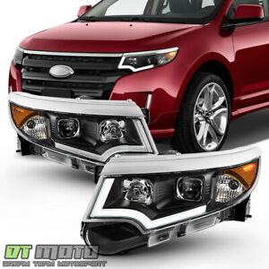 Black 2011 2014 Ford Edge Halogen Model Led Drl Projector Headlights Headlamps