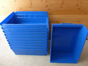 Uline Blue Plastic Storage Bins Lot Of 10 S 13398 In Excellent Clean Condition