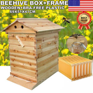 Beehive Beekeeping Wooden House Box 7pcs One key Automatic Honey Bee Frames Us