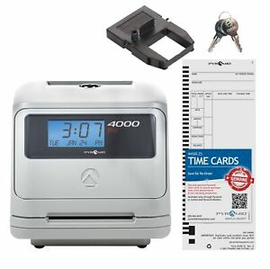 Pyramid 4000 Auto Totaling Time Clock 50 Employees Made In Usa