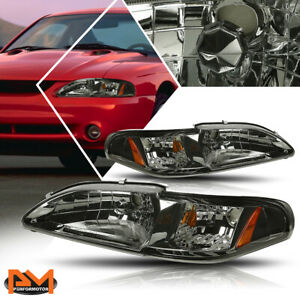 For 94 98 Ford Mustang Gt Svt Headlight Lamps Smoked Housing Amber Side Corner