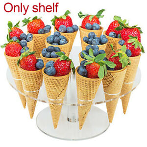 Ice Cream Stand Food Eco friendly 16 Hole Transparent Acrylic Party Cone Holder