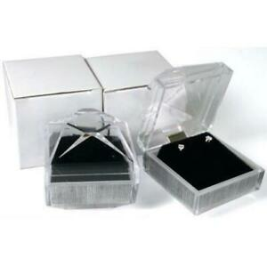 2 Earring Gift Boxes Crystal Clear Velvet Display
