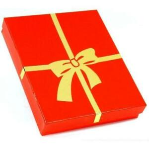 Red W gold Bow Cotton Filled Jewelry Gift Box 6 1 8