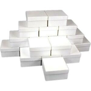 25 White Swirl Cotton Boxes Bracelet Gift Box Display
