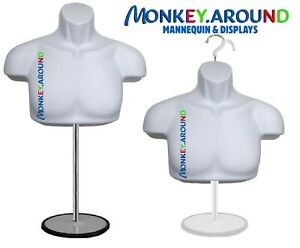 Male Mannequin Form Stand trade Show Torso Display s Men Jersey Shirt White