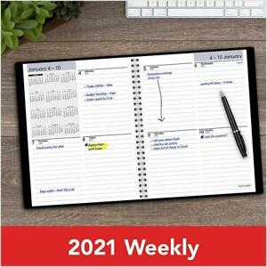 At a glance 2021 Dayminder Block Ruled Weekly Planner Black 7 X 8 G535 00