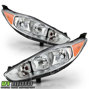 2014 2015 2016 2017 2018 Ford Fiesta Chrome Headlights Headlamps Left Right Set