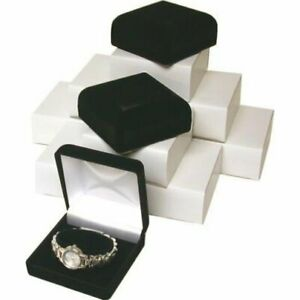 12 Black Flocked Watch Bracelet Jewelry Gift Boxes