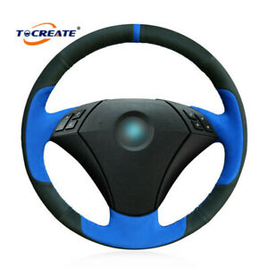 Blue Black Suede Steering Wheel Cover For Bmw 5 Series E60 E61 2004 2010 1202