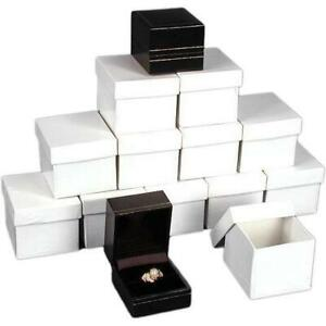 12 Ring Boxes Black Faux Leather Jewelry Case Display
