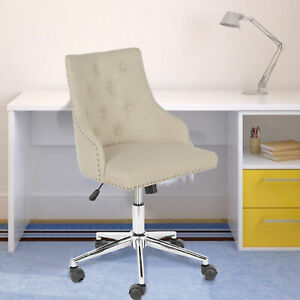 Linen Home Office Chair Armless Computer Task Desk Chair Mid Back