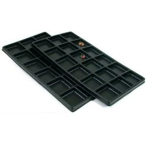 2 Black Plastic 18 Compartment Jewelry Tray Inserts