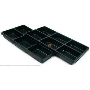 2 Black Plastic 6 Compartment Jewelry Tray Inserts