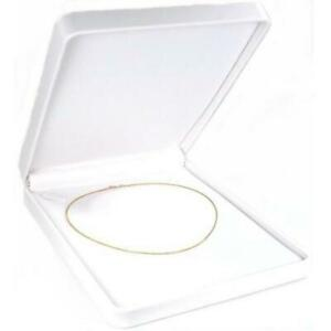 Necklace Gift Box White Faux Leather Jewelry Display 7 1 2