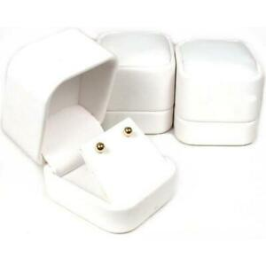 White Faux Leather Earring Display Case Countertop Box