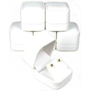 6 White Faux Leather Earring Boxes Jewelry Case Display