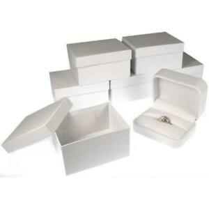 6 White Faux Leather Ring Displays Jewelry Showcase Box