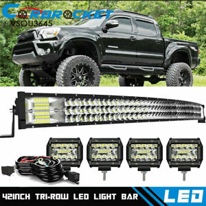 For 2005 2015 Toyota Tacoma Curved 42 Led Light Bar Roof 4 Cube Pods Combo Kit