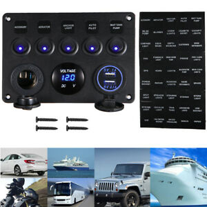 Universal 5 Gang On Off Blue Led Toggle Switch Panel Voltmeter Dual Usb For Car