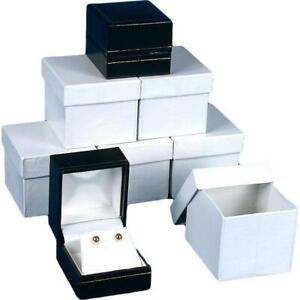 6 Earring Boxes Black Faux Leather Jewelry Case Display