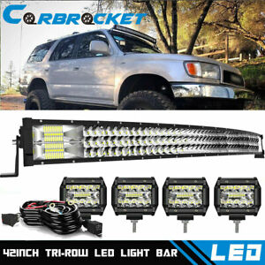 For 95 04 Toyota Tacoma 42 inch Curved Led Light Bar Dual Row Roof Combo Offroad