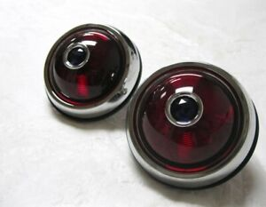 1950 Pontiac Style Round Hot Rod Tail Lights W Glass Blue Dot Insert Pair Rh Lh