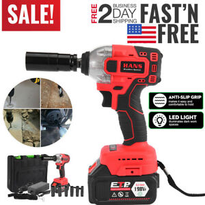 Cordless Electric Impact Wrench Gun 1 2 Driver 330nm Li Ion Battery High Power