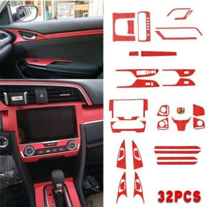 32pcs Red Interior Accessories Sticker Fit For Honda 10th Civic 2016 2019 Us