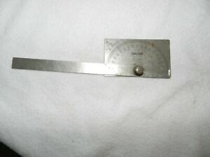 Vintage Craftsman No 4029 Stainless Steel 0 180 Degree Protractor Square Head