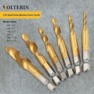 Spiral Tap Drill Bit Set By Volterin 6 Pcs Titanium Coated Hss 6542 Fluted Mac