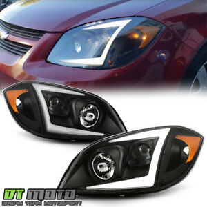 2005 2010 Chevy Cobalt Black Led Tube Projector Headlights Headlamps Left right