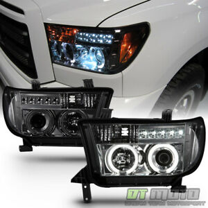 For 2007 2013 Toyota Tundra Sequoia Led Ccfl Halo Projector Smoked Headlights
