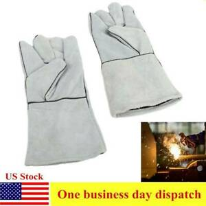 14 Welding Gloves Gray Leather Cowhide Protect Welder Hands For Welders Stove