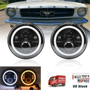 For Ford Mustang 1965 1978 7 Inch Black Led Headlight Halo Angel Eye Ring Pair