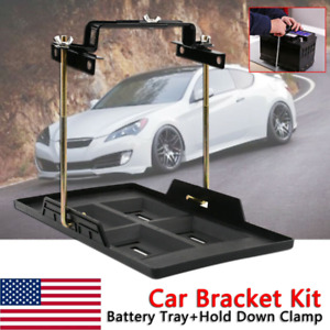 Adjustable Car Storage Battery Tray Holder Base Hold Down Clamp Bracket Kit Us