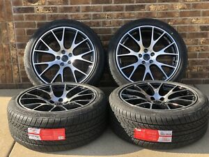 20 X9 Inch For Dodge Charger Hellcat Style Wheels Tires Black Machine