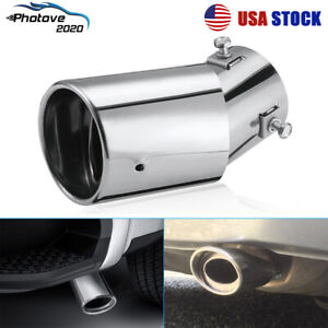 Universal Car Stainless Steel Chrome Rear Round Exhaust Tail Muffler Tip Pipe