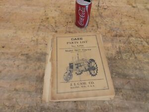 Early 1938 Antique Vintage Case Rc Tractor Manual Parts List No A194